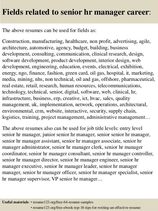Top 8 senior hr manager resume samples