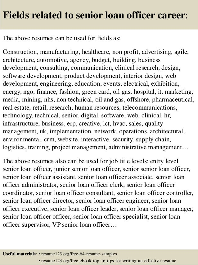 Top 8 senior loan officer resume samples – Loan Officer Resume Example