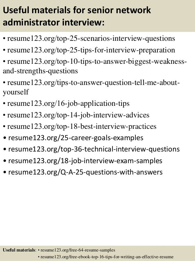 ... 13. Useful Materials For Senior Network Administrator ...  Network Administrator Resume Sample