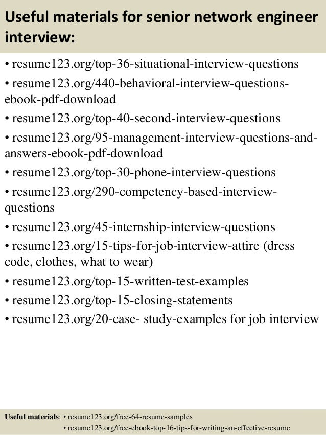 12 useful materials for senior network engineer - Network Engineering Resume Sample