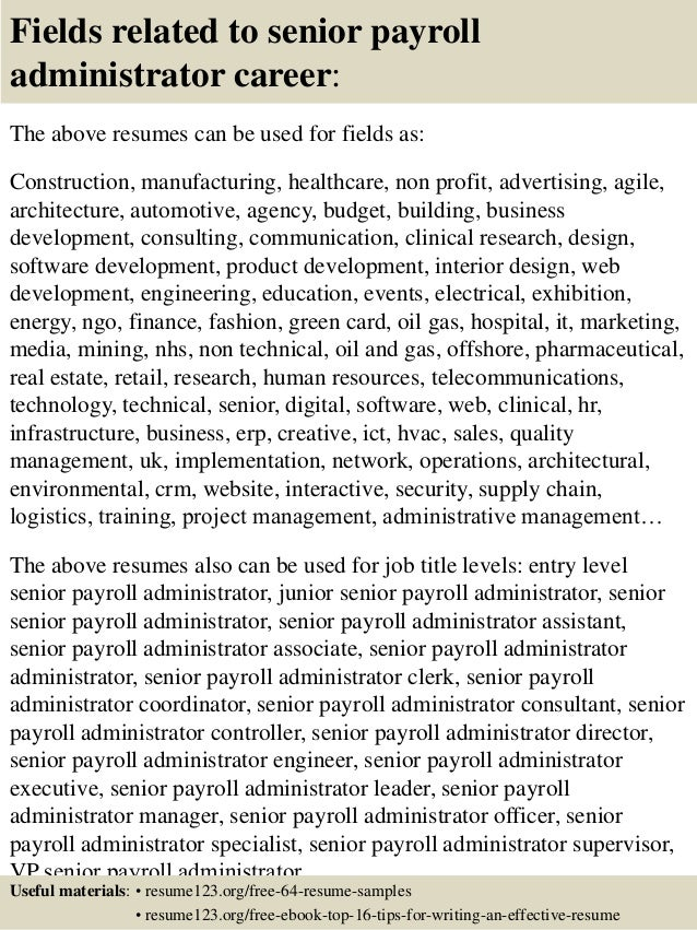 Top 8 Senior Payroll Administrator Resume Samples