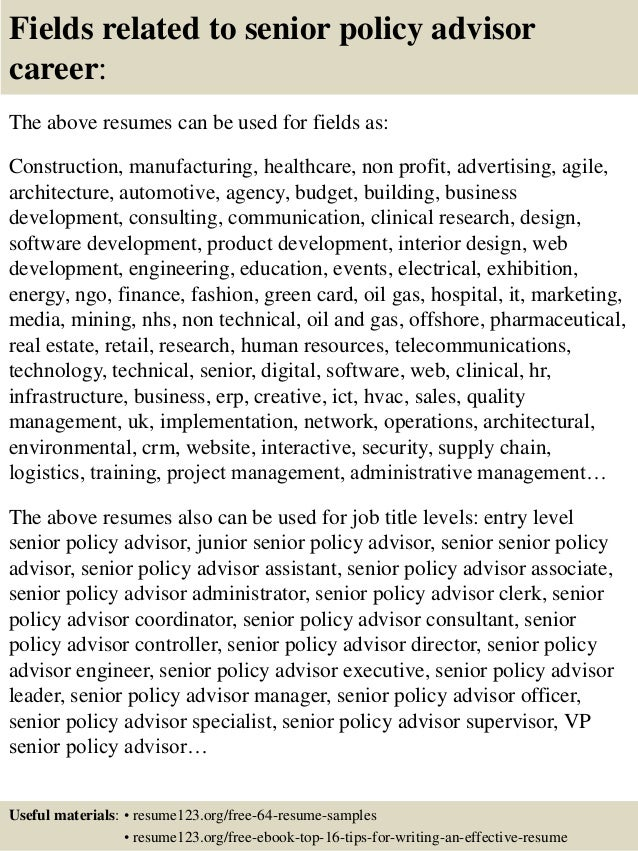 ... 16. Fields Related To Senior Policy Advisor ...
