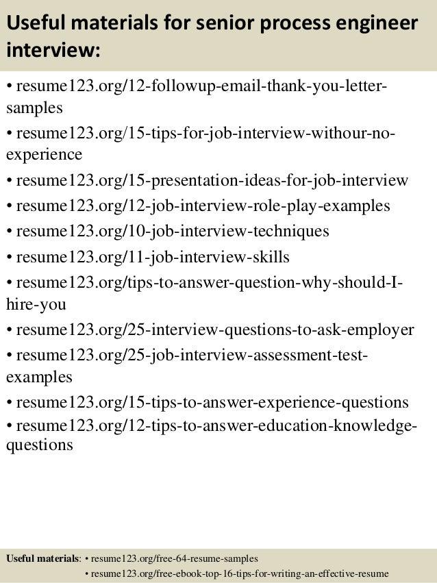 14 useful materials for senior process engineer - It Process Engineer Sample Resume