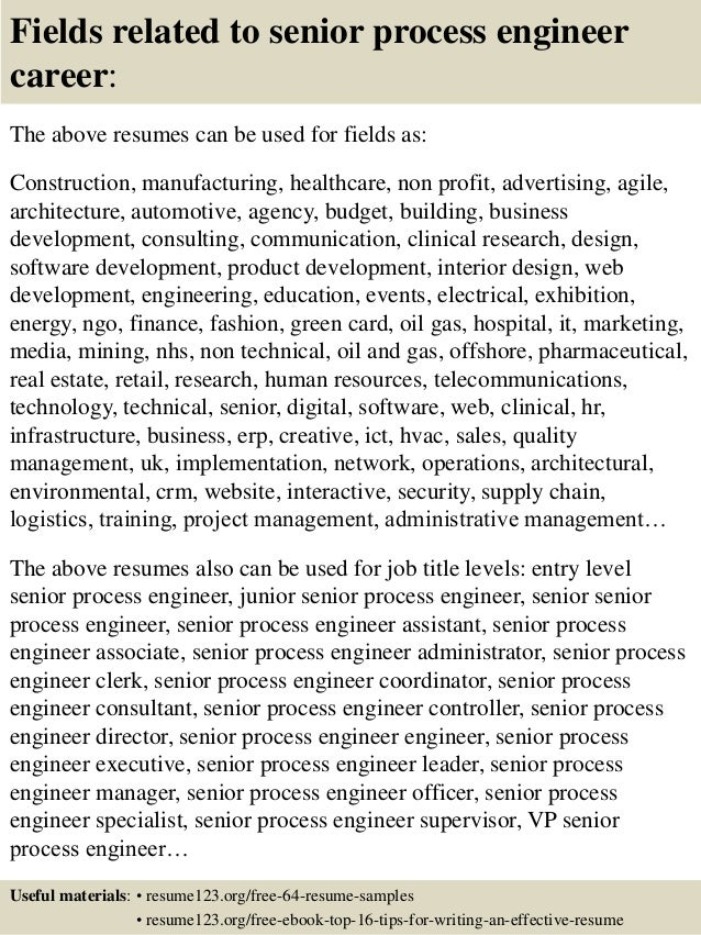 16 fields related to senior process engineer resume sample