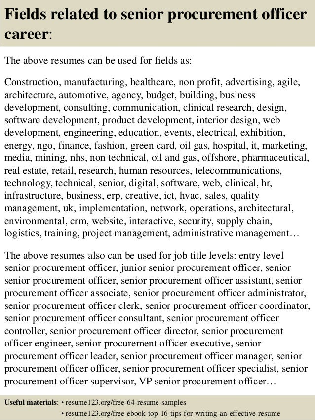 ... 16. Fields Related To Senior Procurement Officer Career: The Above  Resumes ...