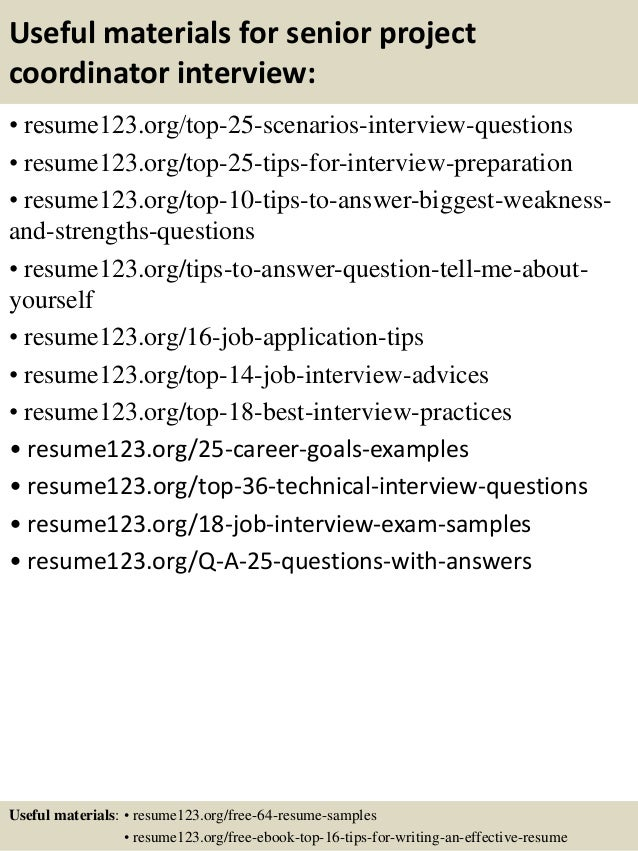 13 useful materials for senior project coordinator