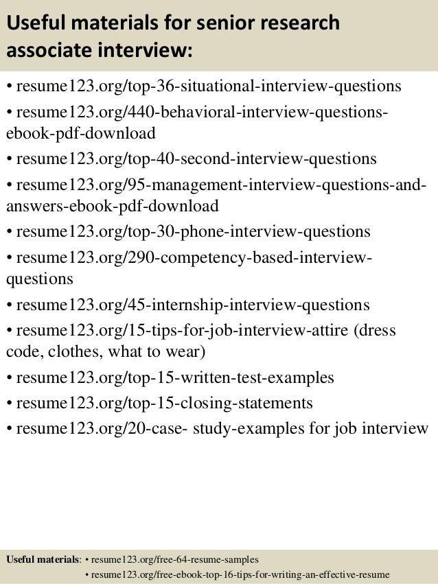 Top 8 senior research associate resume samples
