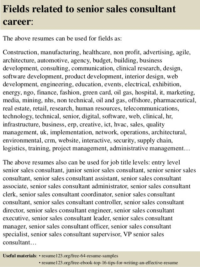 Top 8 senior sales consultant resume samples