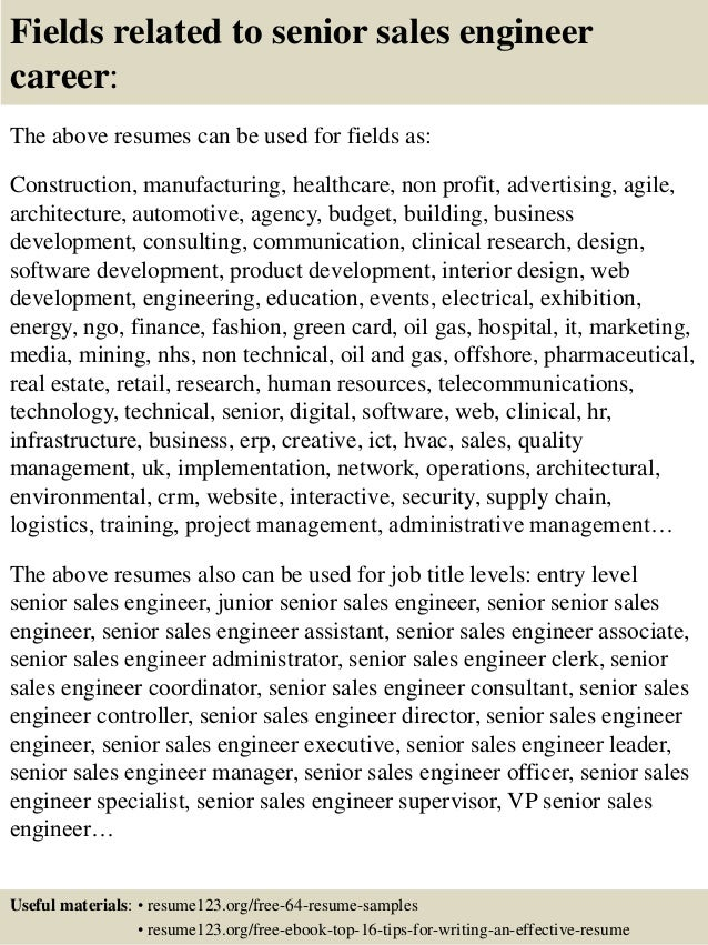 ... 16. Fields Related To Senior Sales Engineer ...  Sales Engineer Resume