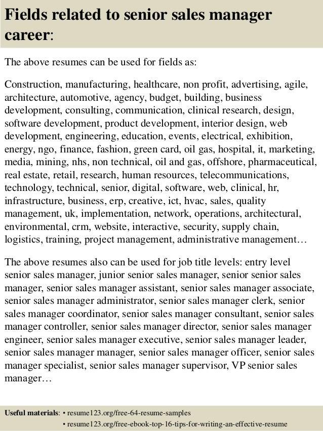 top 8 senior sales manager resume samples