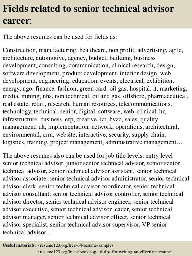 16 fields related to senior technical advisor career the above resumes career advisor resume