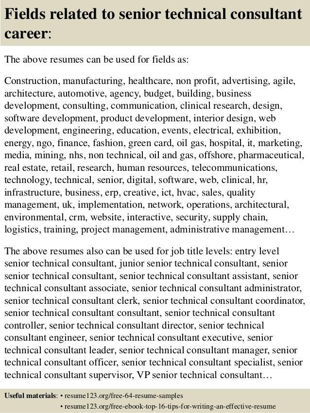 top 8 senior technical consultant resume samples