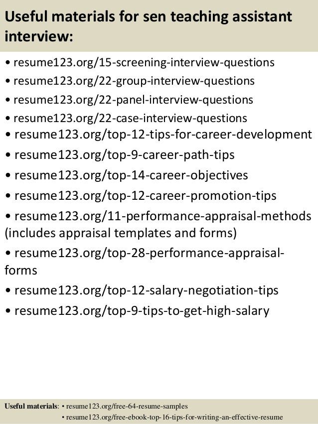 teaching assistant resume sample