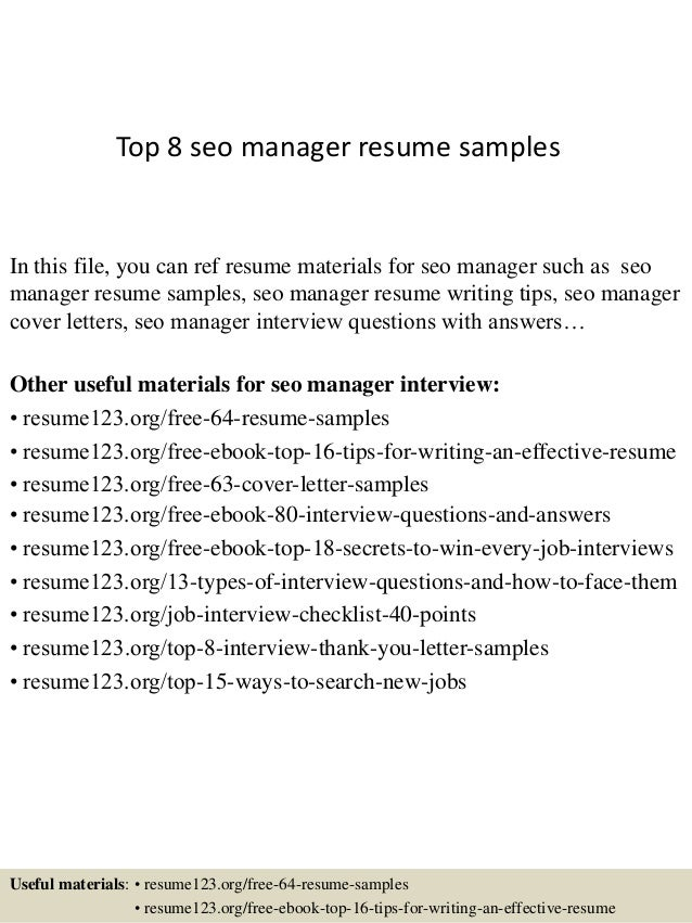Top 8 Seo Manager Resume Samples In This File, You Can Ref Resume Materials  For ...