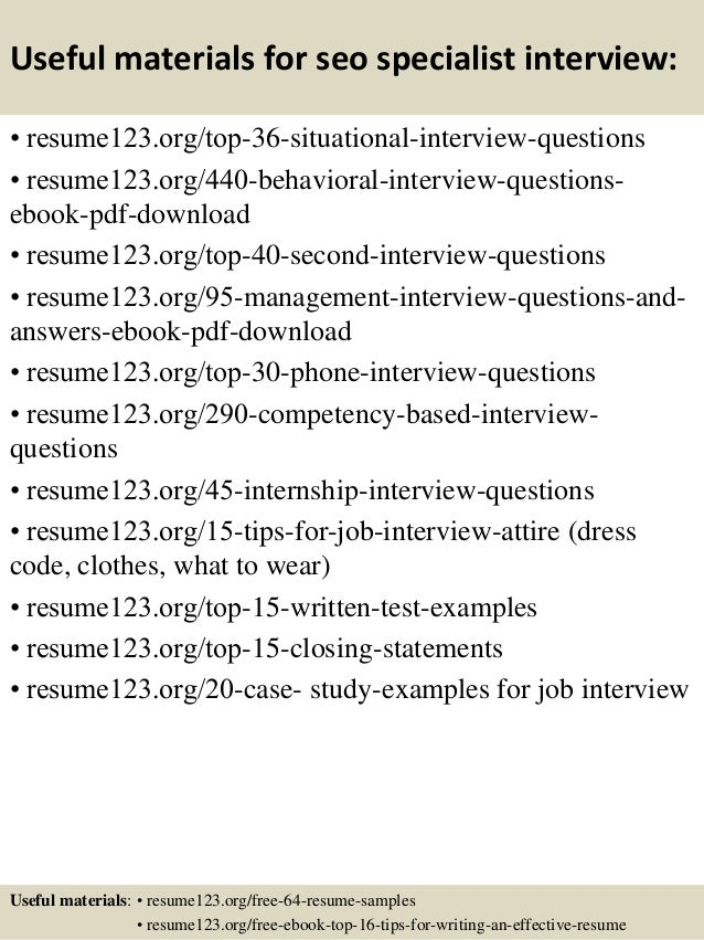 12 useful materials for seo specialist - Seo Specialist Sample Resume