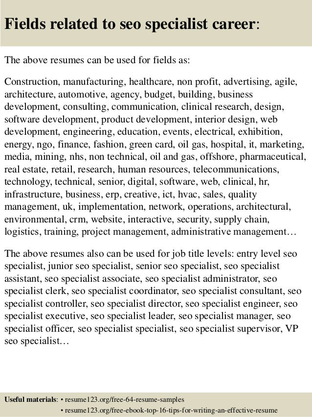 16 fields related to seo specialist - Seo Specialist Sample Resume