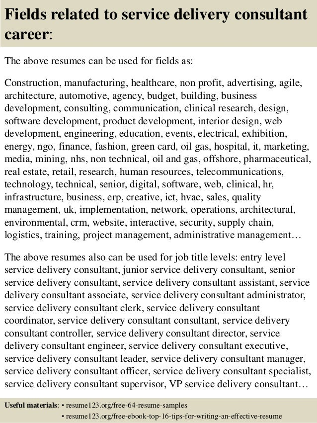 top 8 service delivery consultant resume samples