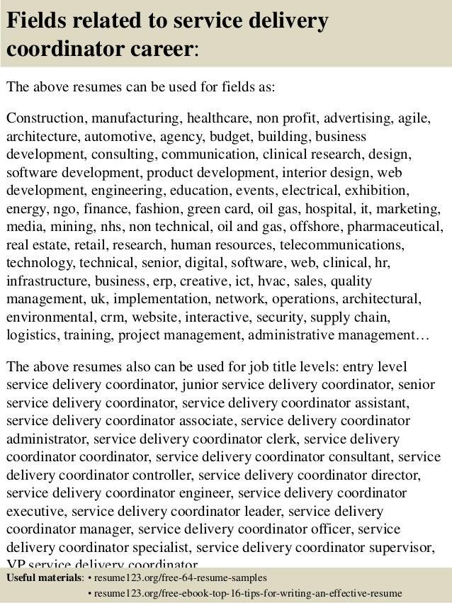 Top 8 service delivery coordinator resume samples