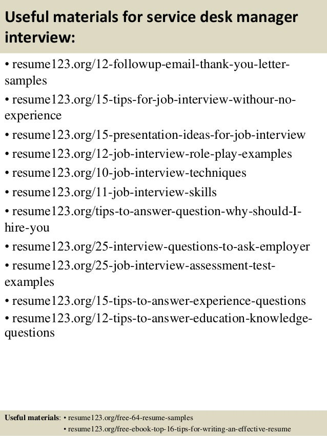 ... 14. Useful Materials For Service Desk Manager ...  Help Desk Manager Resume