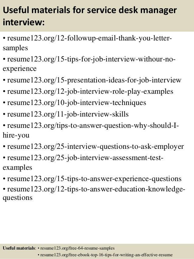 ... 14. Useful Materials For Service Desk Manager ...  Help Desk Manager Resume