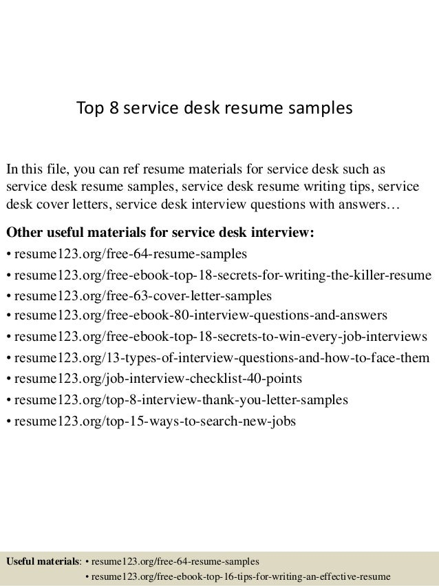 top 8 service desk resume samples