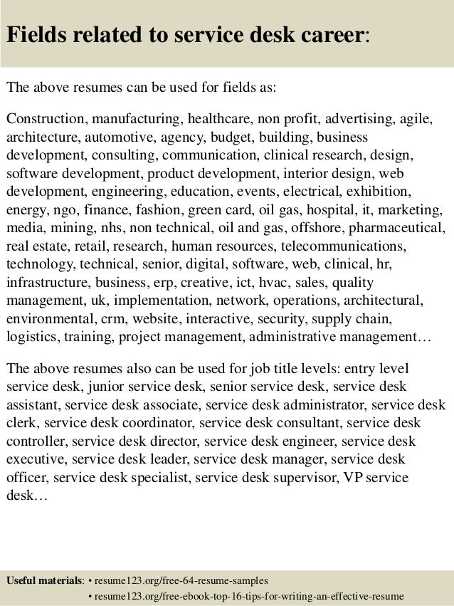 top 8 service desk resume samples