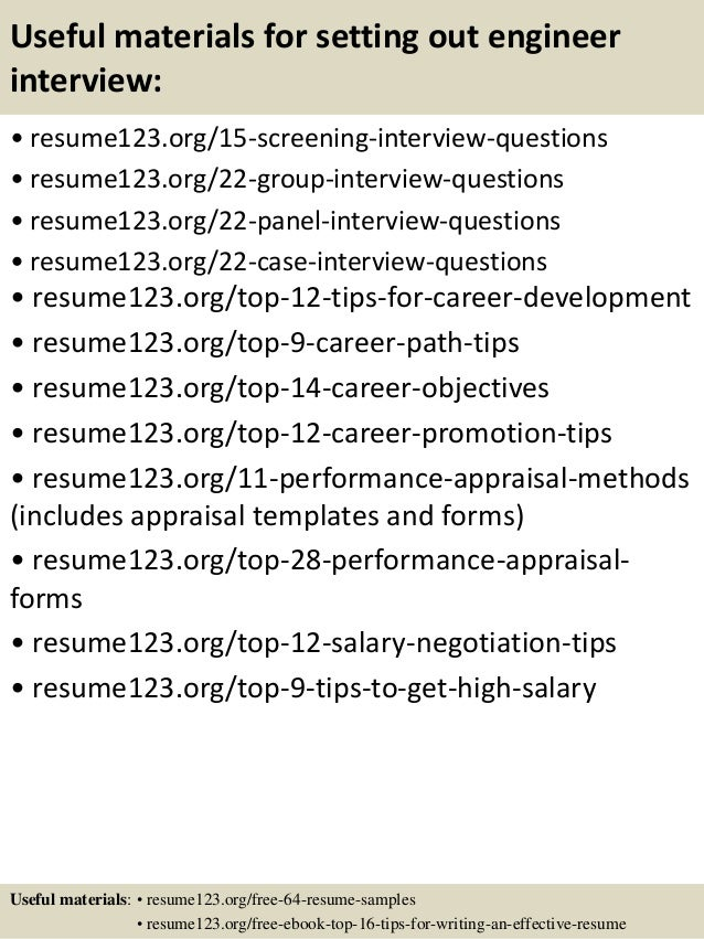 Top 8 setting out engineer resume samples