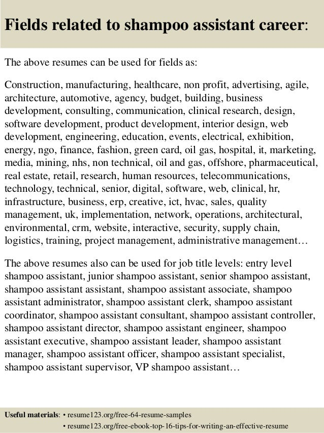 Top 8 Shampoo Assistant Resume Samples