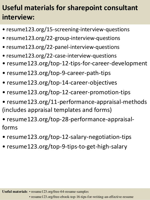 15 useful materials for sharepoint consultant - Sharepoint Consultant Sample Resume