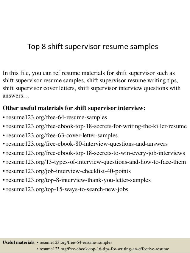 Awesome Top 8 Shift Supervisor Resume Samples In This File, You Can Ref Resume  Materials For ...