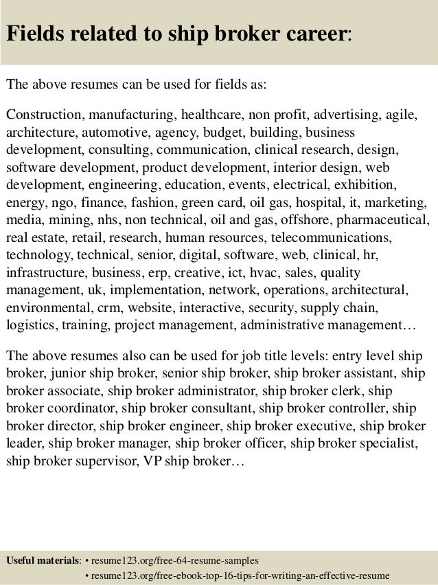 top 8 ship broker resume samples