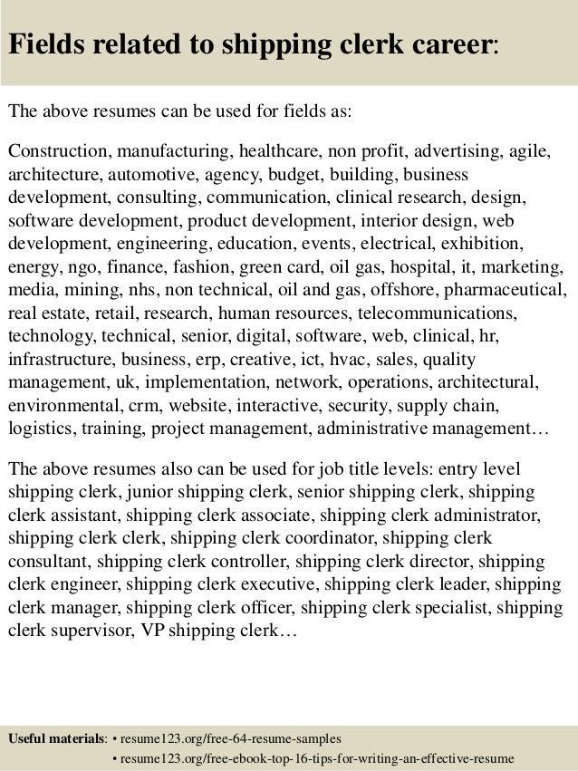 top 8 shipping clerk resume samples