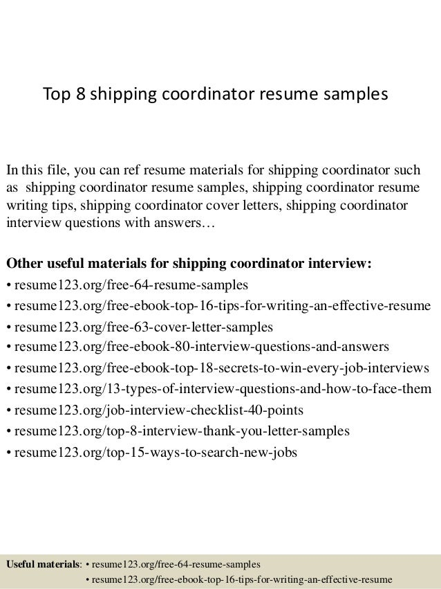top 8 shipping coordinator resume samples