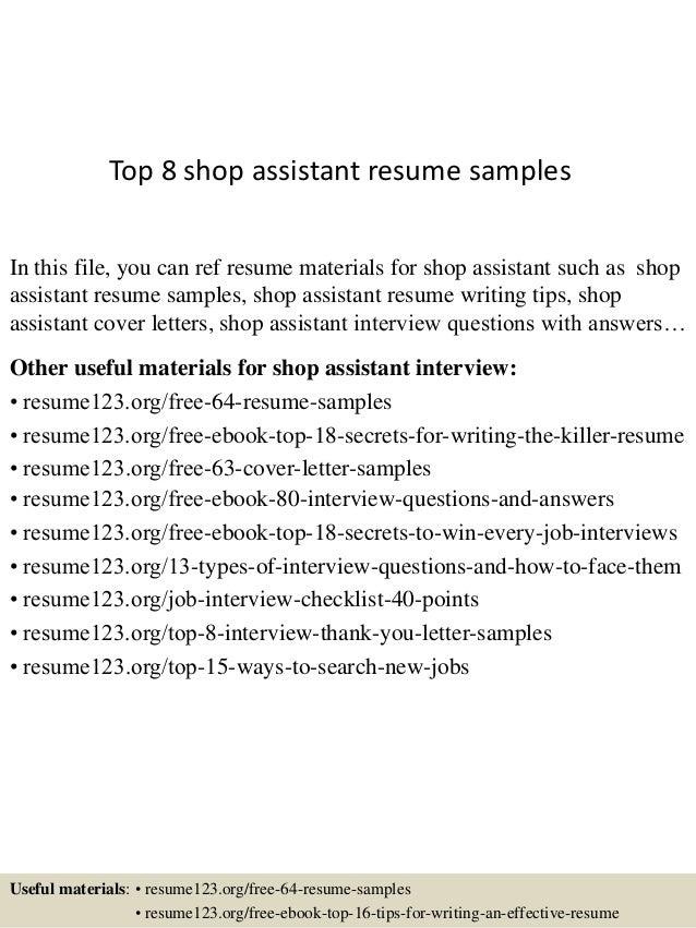 shop assistant resume samples