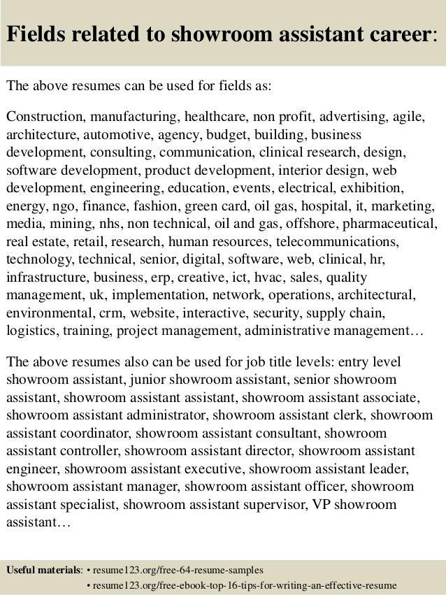 Fashion showroom assistant job description 54