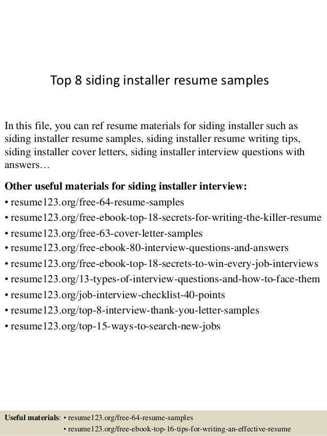 Siding Installer Cover Letter - sarahepps.com -
