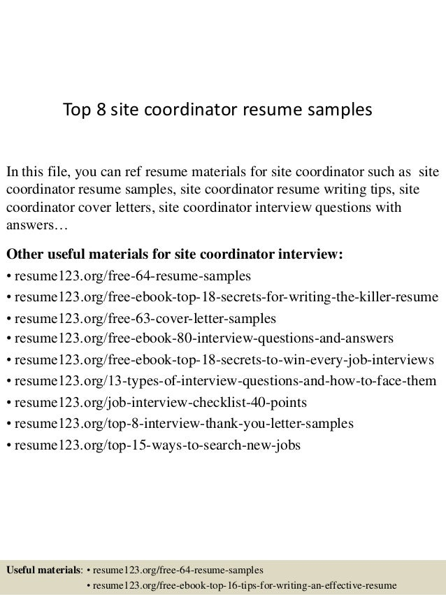 top 8 site coordinator resume samples