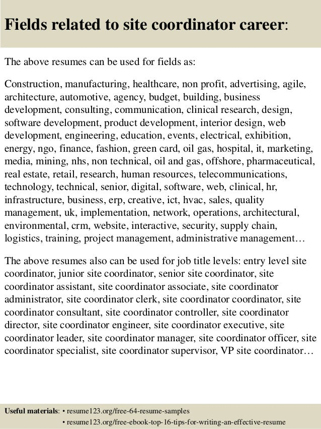 16 fields related to site - Resume Site