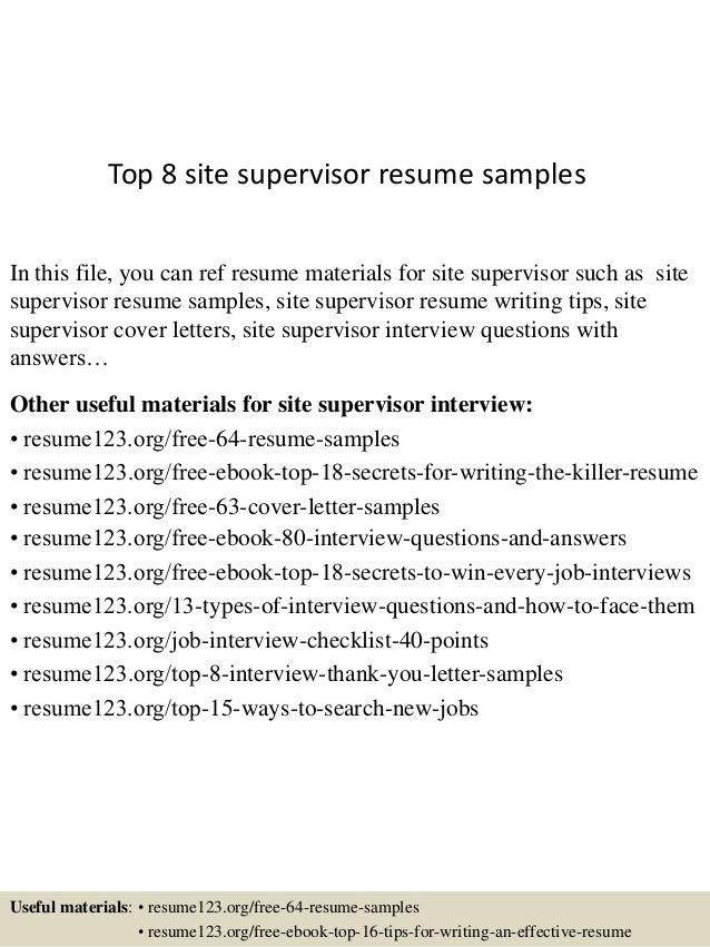 civil supervisor cv sample