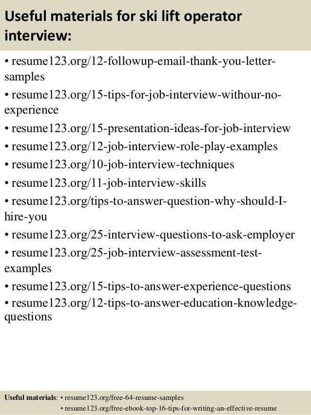 Top 8 ski lift operator resume samples