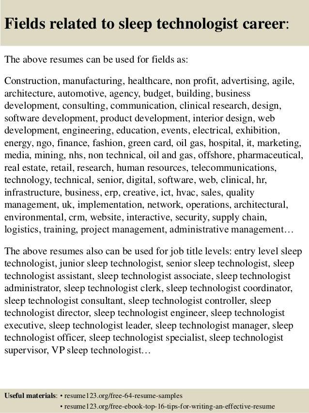Top 8 sleep technologist resume samples