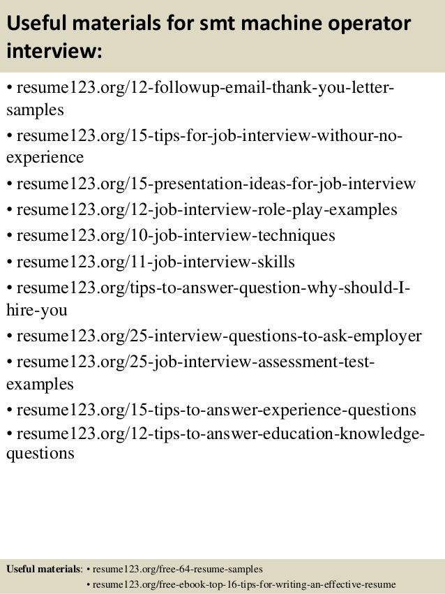 sample resume machine operator