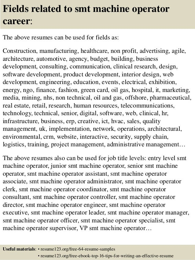top 8 smt machine operator resume samples