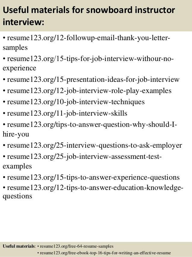top 8 snowboard instructor resume samples