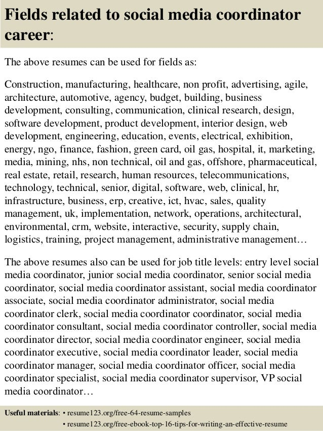 Top 8 Social Media Coordinator Resume Samples