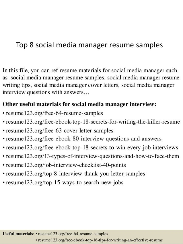 top 8 social media manager resume samples in this file you can ref resume materials - Social Media Manager Resume