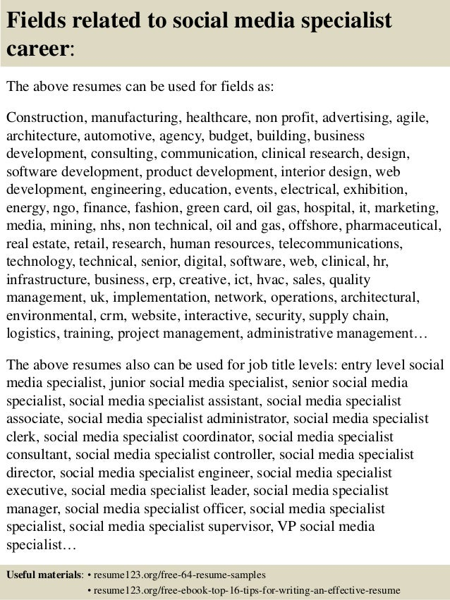 social media specialist resume sample