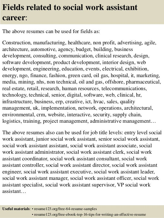 ... 16. Fields Related To Social Work ...  Social Worker Sample Resume
