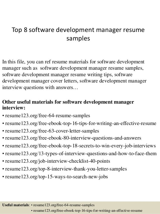 Top 8 Software Development Manager Resume Samples In This File, You Can Ref  Resume Materials ...