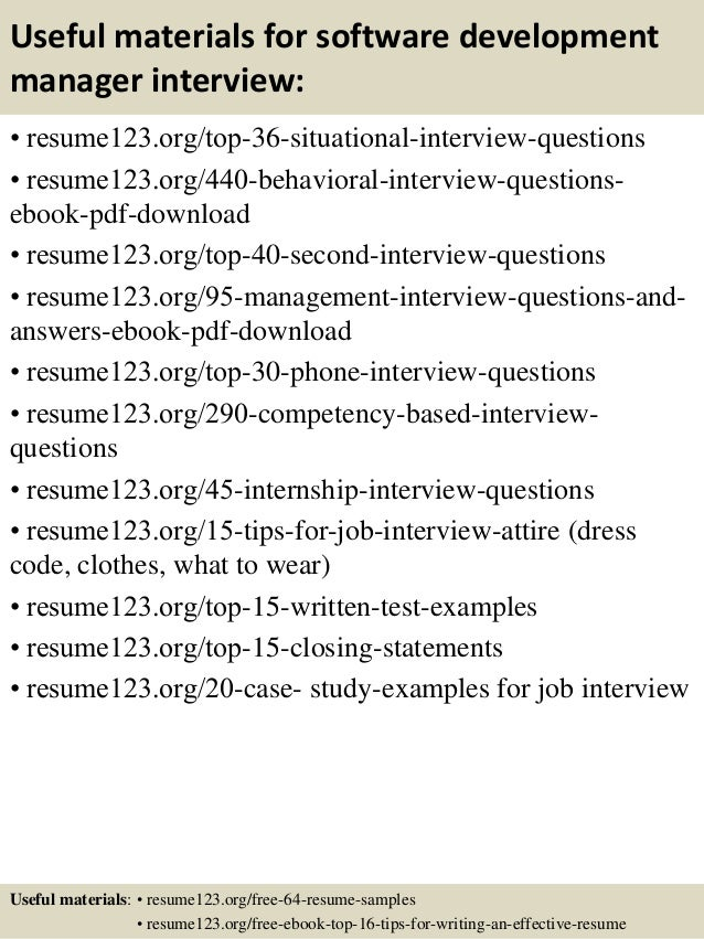 ... 12. Useful Materials For Software Development Manager ... Intended For Application Development Manager Resume